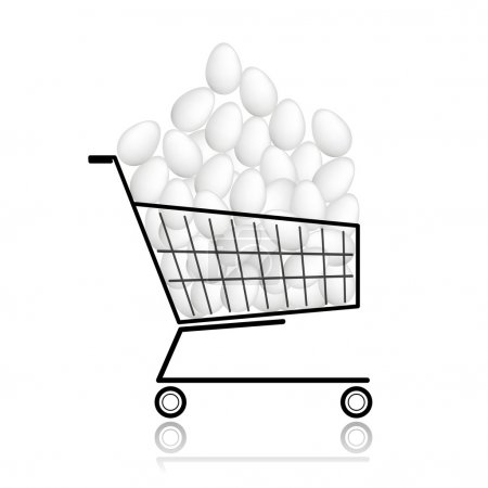Illustration for Pile of eggs in shopping cart for your design - Royalty Free Image