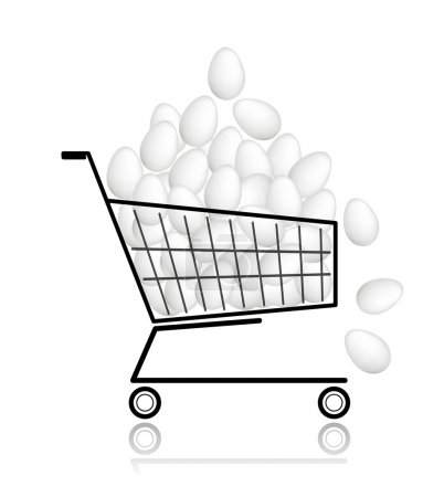 Pile of eggs in shopping cart for your design