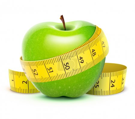 Photo for Illustration of Green apple with yellow measuring tape - Royalty Free Image