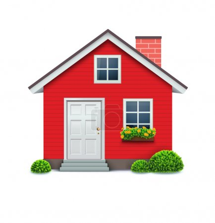 Photo for Illustration of cool detailed red house icon isolated on white background. - Royalty Free Image