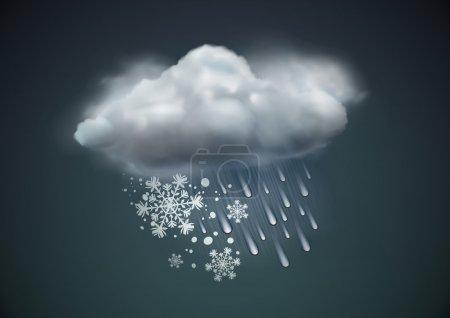 Foto de Ilustración del icono cool solo aguanieve del tiempo - nube con nieve y lluvia en el cielo oscuro - Imagen libre de derechos
