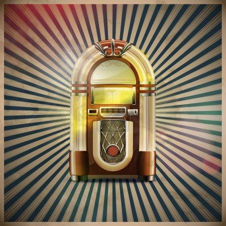 Photo pour Illustration du style détaillée classique Juke-Box sur fond rétro grunge - image libre de droit