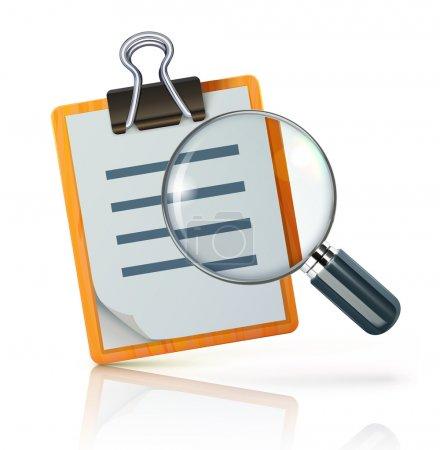 Photo pour Illustration du concept de recherche avec liste de contrôle sur presse-papiers et loupe - image libre de droit