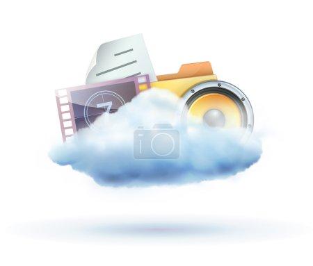 Foto de Ilustración de cool nube basado en icono de concepto para compartir multimedia - Imagen libre de derechos