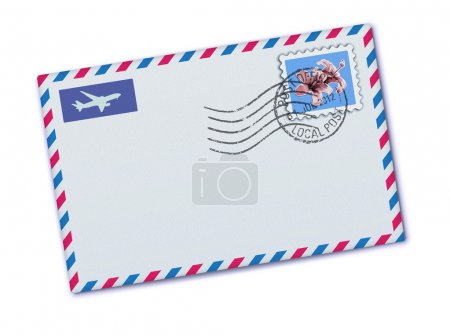 Illustration for Vector illustration of blank airmail envelope with stamp and rubber stamp - Royalty Free Image