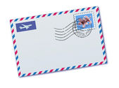 Vector illustration of blank airmail envelope with stamp and rubber stamp