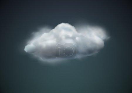 Illustration pour Illustration vectorielle de l'icône météo unique cool - flotteurs de nuage dans le ciel sombre - image libre de droit
