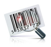 Vector illustration of cool identification barcode sticker with magnifying glass