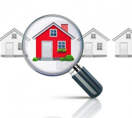 Illustration pour Vector illustration du concept de l'immobilier avec loupe et la maison de vos rêves - image libre de droit