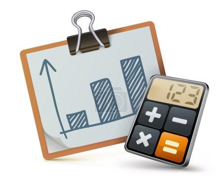 Illustration pour Illustration vectorielle du concept d'entreprise avec icône calculatrice et graphique financier - image libre de droit