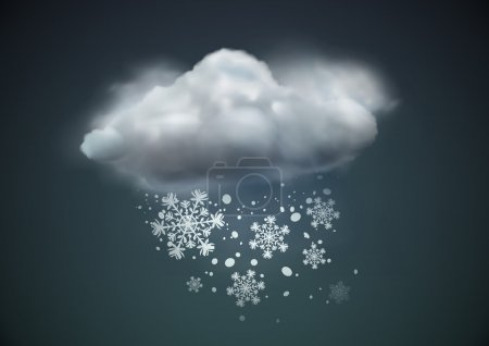 Illustration for Vector illustration of cool single weather icon - cloud with snow in the dark sky - Royalty Free Image