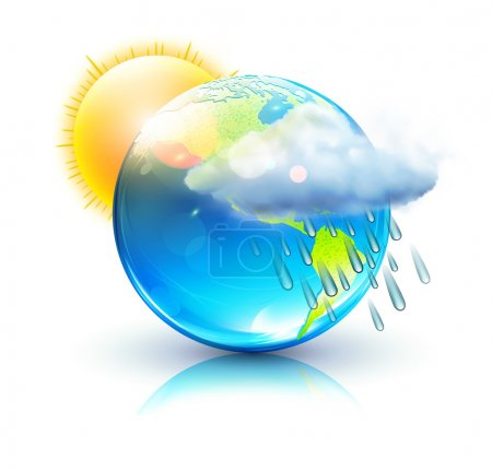 Illustration for Vector illustration of cool single weather icon – blue globe with sun, raincloud and raindrops - Royalty Free Image