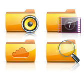 Vector illustration of four yellow interface computer folder icons