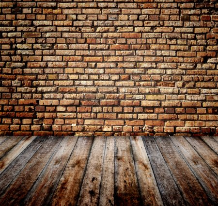 Photo for Old room with brick wall and wooden floor - Royalty Free Image