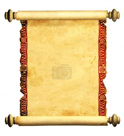 Photo for Scroll of old parchment. Object isolated over white - Royalty Free Image