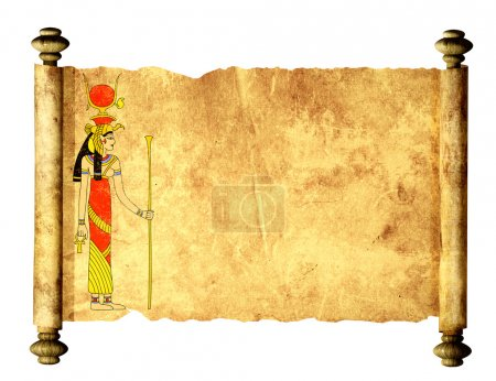 Scroll with Egyptian goddess Isis image. Isolated ...