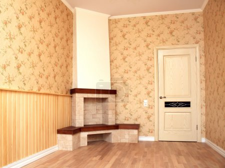 Interior of a room with a fireplace
