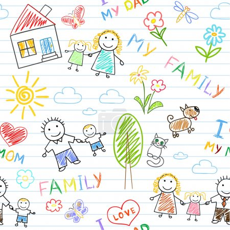 Illustration for Seamless background - happy family. Sketch on notebook page - Royalty Free Image