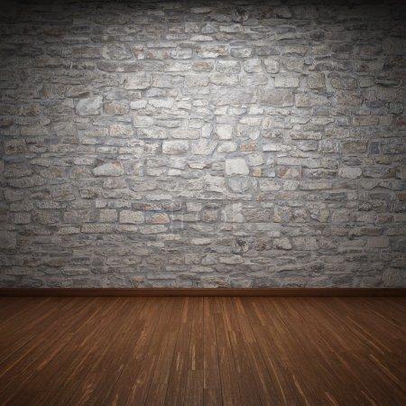 Photo pour Salle intérieure avec mur en pierre et plancher en bois - image libre de droit