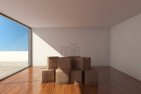 Photo for Empty modern hall with cardboard boxes - Royalty Free Image
