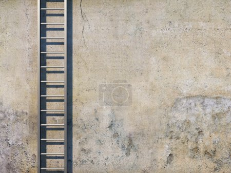 Photo for Blank dirty grunge wall with ladder - Royalty Free Image