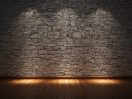 Photo for Interior room with stone wall and wooden floor - Royalty Free Image