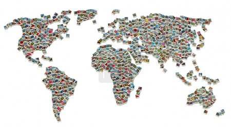 Photo for Collage of World Map made of colorful travel photos isolated on white background - Royalty Free Image