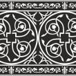 Seamless black-and-white gothic floral vector bord...
