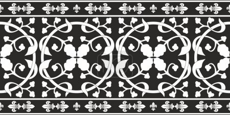 Seamless black-and-white gothic floral vector pattern