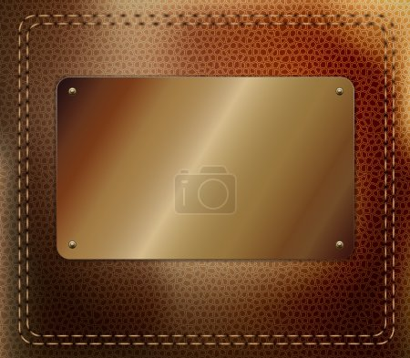 Illustration for Leather background with metallic label - Royalty Free Image