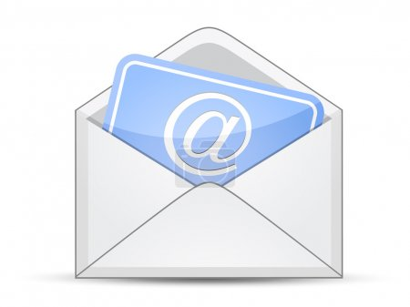 Illustration pour Enveloppe ouverte avec carte et e-mail - image libre de droit