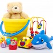 Toys collection isolated on white background...