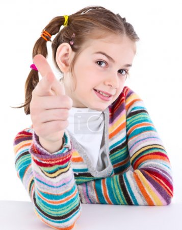 Youth girl pointing on you with her index finger