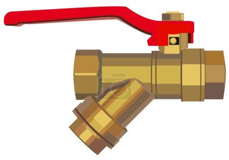 Illustration for Bronze ball valve. Illustration in vector format EPS - Royalty Free Image