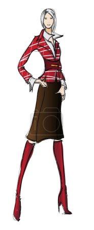Illustration pour Esquisse. fille de mode. Modèle de mode dessiné à la main - image libre de droit