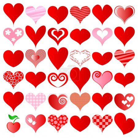 Illustration for Hearts set for wedding and valentine design - Royalty Free Image