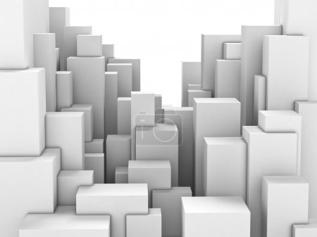 Abstract city of white blocks