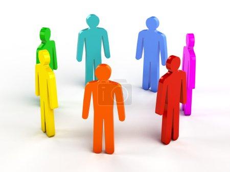 Diversity, teamwork, social network concept