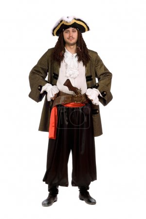 Man in a pirate costume with pistol. Isolated
