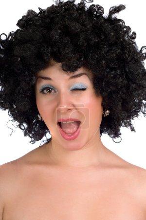 Funny girl in a black wig