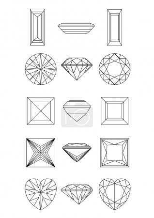 Collection shapes of diamond against white background. Wirefram