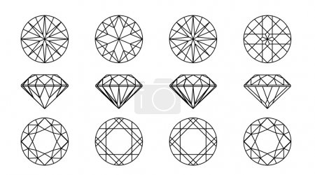 Round shapes of a gemstone. Wireframe