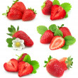 Collection of strawberry fruits on white backgroun...