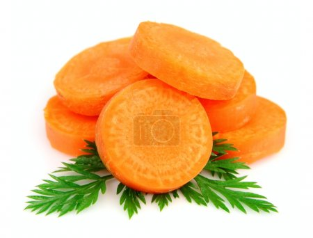 Photo for Carrot segments on a white background - Royalty Free Image
