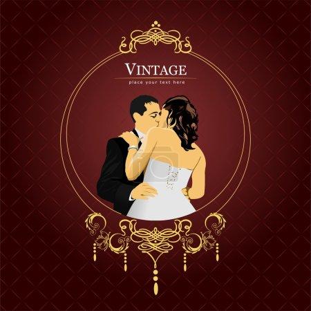 Illustration pour Invitation carte vintage. mariage ou valentine`s jour. illustration vectorielle - image libre de droit
