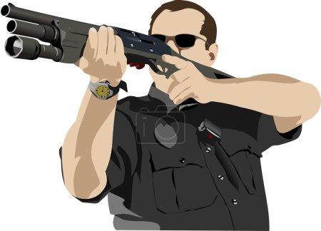 Illustration pour Un policier armé se prépare à tirer avec un fusil automatique. Illustration vectorielle - image libre de droit