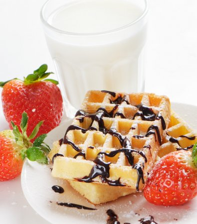 Photo for Waffles with berries and milk - Royalty Free Image