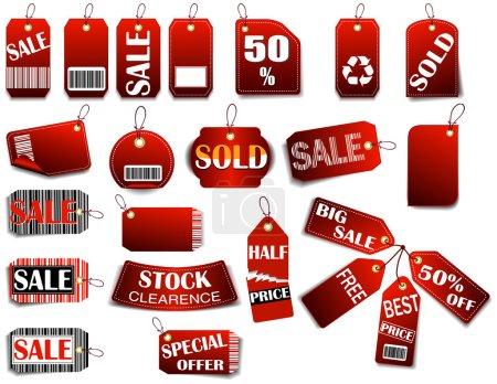 Illustration pour Étiquette de vente rouge avec espace pour le texte et le code à barres. Illustration vectorielle (JPG + EPS ) - image libre de droit