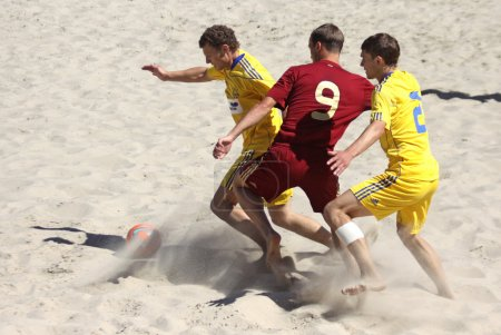 Beach soccer game between Ukraine