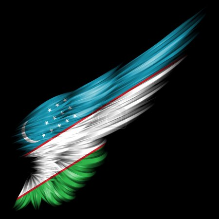 The flag of Uzbekistan on Abstract wing with black...